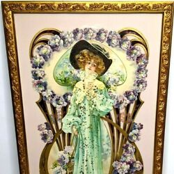 C1900s Framed 25 Victorian Woman Die Cut Advertising Sign Trade Card Dundee, Ia