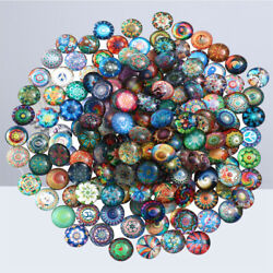 200pcs 14mm Mixed Round Mosaic Tiles For Crafts Glass Mosaic For Jewelry Making