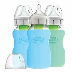 Dr. Brownand039s Options+ Glass Wide-neck Bottle With Silicone Sleeve Blue 9 Ounce