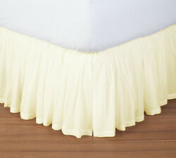Wrap Around Simple Tuck Ivory Solid Gathered Bed Skirt 680 Tc Cotton Open Corner