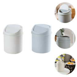 2pcs Plastic Simple Stylish Garbage Cans Trash Containers Trash Bins Trash Cans