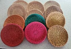 24 Vintage Wicker Paper Plate Holders Picnic Camping Basket Wall Rattan Boho Red