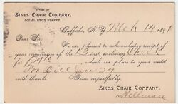 New York Buffalo Sikes Chair Co Posted 1891 To E.d. Keener Of Painesville Ohio