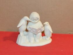 Snowbabies Cherub With Penguins And Book Collectible Department 56 4-1/4