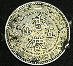 Hong Kong Silver 5 Cents 1897 - Victoria - Vf/ex-jewellery