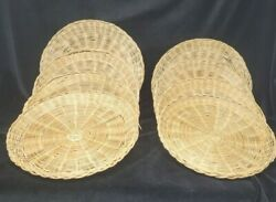 """Wicker Paper Plate Holders Set Of 8 Vintage Bamboo Woven Camping Picnic 9.5"""""""