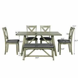 6pcs Rustic Style Dining Table Set Wood Dining Table And Chair Bench Furniture