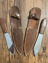 Vintage Casexx Fixed Blade 2 Knives Lot Usa Throwing Boot Knives W/sheaths Rare