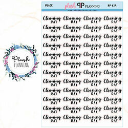 CLEANING DAY SCRIPT Planner Sticker Removable Stickers Plush Planning