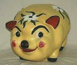 Yellow Pig Piggy Coin Bank Chalkware Flowers Vintage Huge Cute Colorful Mexico