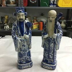 Couple Statue Chinese Vintage In Ceramic White And Blue