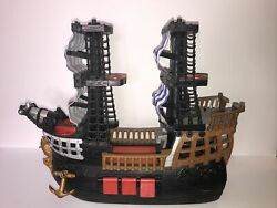 Fisher Price 2006 Mattel Imaginext Black And Red Pirate Ship Blue White Sails