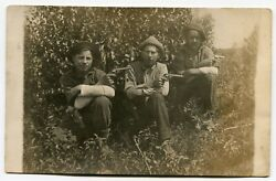Antique Rppc Photo Of Three Men With Guns, Revolvers, Very Rugged Outdoors