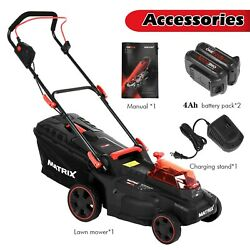 16in 40v 2x4ah Lithium Battery Electric Front Engine Pushing Cart Lawn Mower Us