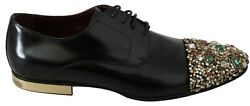 Dolce And Gabbana Shoes Black Leather Crystal Dress Mens Eu43 / Us10 Rrp 2000