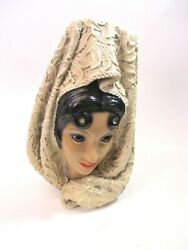 1966 Marwal By Brower Spanish Décor Lady Bust Sculpture Chalkware 11 1/4 Mint