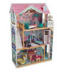Kidkraft Annabelle Large Wooden Play Dollhouse W/17 Accessories, Pink Open Box