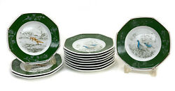 12 Hermes France Porcelain Chasse Green Bread And Butter Plates Renard And Perdrix