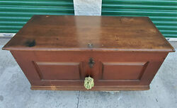 Antique Circa 18th Century Dark Wood Rolling Trunk Dowry Hope Chest