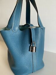 Hermes Picotin Pm Tote Bag Blue Taurillon Clemence Leather Square J Authentic