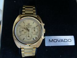 Vintage Nos Movado Chronograph El Primero Goldfield With Box And Paper Working