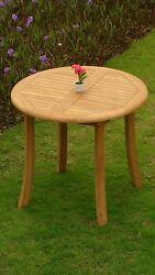 3-piece Outdoor Teak Dining Set 36 Round Table 2 Stacking Arm Chairs Grand