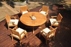 7-piece Outdoor Teak Dining Patio Set 60 Round Table 6 Arm Chairs Lagos