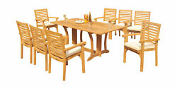 9-piece Outdoor Teak Dining Set 69 Console Table 8 Stacking Arm Chairs Hari