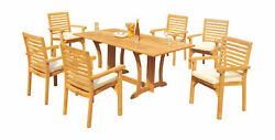 7-piece Outdoor Teak Dining Set 69 Console Table 6 Stacking Arm Chairs Hari