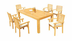 7-piece Outdoor Teak Dining Set 86 Rectangle Table 6 Stacking Arm Chairs Hari