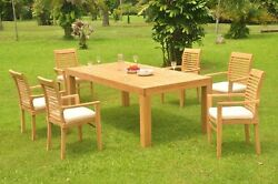7-piece Outdoor Teak Dining Set 86 Rectangle Table 6 Stacking Arm Chairs Masc