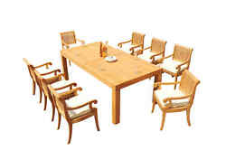 9-piece Outdoor Teak Dining Patio Set 86 Rectangle Table 8 Arm Chairs Giva