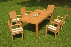 7-piece Outdoor Teak Dining Set 86 Rectangle Table 6 Stacking Arm Chairs Wave