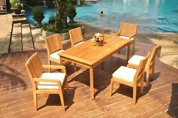 7-piece Outdoor Teak Dining Patio Set 71 Rectangle Table 6 Chair Maldives