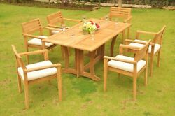 7-piece Outdoor Teak Dining Set 69 Console Table 6 Stacking Arm Chairs Mont