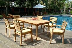 7-piece Outdoor Teak Dining Set 83 Rectangle Table 6 Stacking Arm Chairs Trav