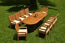 11-pc Outdoor Teak Dining Set 94 Masc Oval Extension Table 10 Chairs Maldives