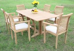 7-piece Outdoor Teak Dining Set 69 Console Table 6 Stacking Arm Chairs Masc