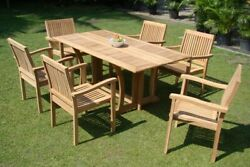 9-piece Outdoor Teak Dining Set 69 Console Table 8 Stacking Arm Chairs Leve