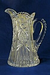 Large American Brilliant 100+ Year Old Cut Crystal Leaded Glass Pitcher 10.5