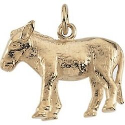 Donkey Pendant Charm 14k Yellow Gold Or Sterling Silver For Democrat Nativity
