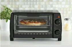 Mainstays 4 Slice Black Toaster Oven With Dishwasher-safe Rack And Pan3 Piece-new