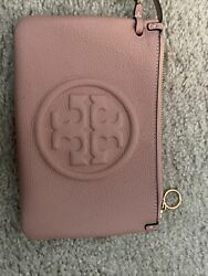 TORY BURCH Perry Bombe Zip Card Case Wristlet Pink $115.00