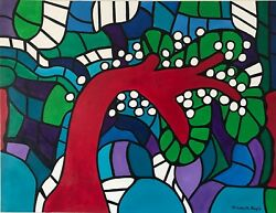 Elizabeth Bayle Expressionism Abstract Large Painting 45 1/2in Per 34 13/16in