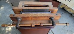 Vintage Large Bench Wood Vise Woodworking Carpentry Clamp Tool 1940s