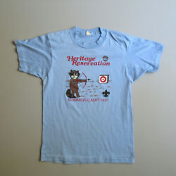 Vintage 1991 Heritage Reservation Boy Scout Summer Camp Camping T Shirt Xs/s