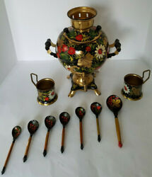 Vintage Russian Ussr Hand Painted Brass Samovar Ball Kettle Electric Teapot