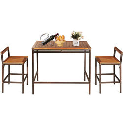 3 Pcs Patio Rattan Wicker Bar Dining Furniture Set Wood Table Chair Outdoor