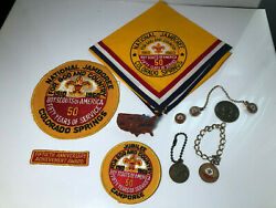 Boy Scout 1960 Jamboree Lot Neckerchief, Slide, Patches Keychain Coin Jewelry