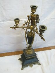 Ornate Brass Tone Medieval Mantle Luster Candlestick Candle Candelabra Gothic